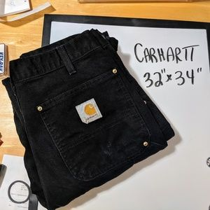 Men's double front black Carhartt duck pants 32 34